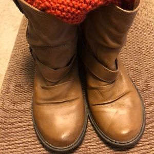 MIA tan colored ankle boots ..distressed leather